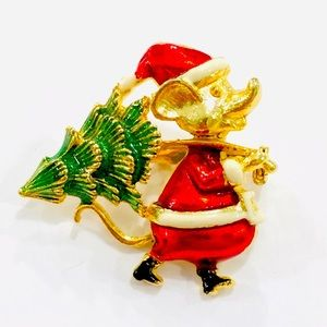 Vintage Santa Mouse with Christmas Tree Brooch Pin